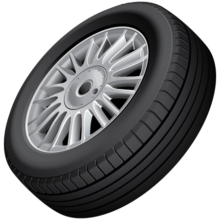 car service: Vector illustration of cars wheel and tire, isolated on white background. File contains gradients, blends and transparency. No strokes. Illustration