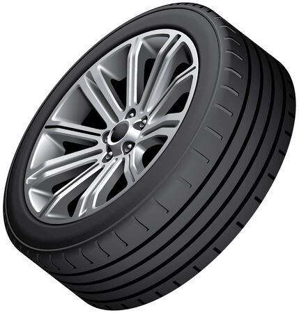 blends: High quality vector image of alloy wheel with low-profile tire, isolated on white background. File contains gradients, blends and transparency. No strokes.