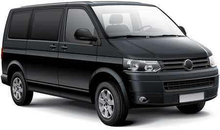 front wheel drive: High quality vector image of black German passenger van, isolated on white background.