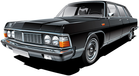 progressive: High quality vector image of vintage Soviet limousine, isolated on white background. File contains gradients, blends and transparency. No strokes. Easily edit: file is divided into logical layers and groups. NOTE: palette contains progressive black.