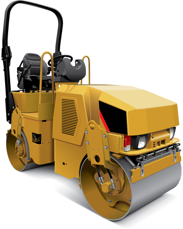 paving: High quality vector illustration of compact tandem vibratory roller, isolated on white background. File contains gradients, blends and transparency. No strokes. Easily edit: file is divided into logical layers and groups.
