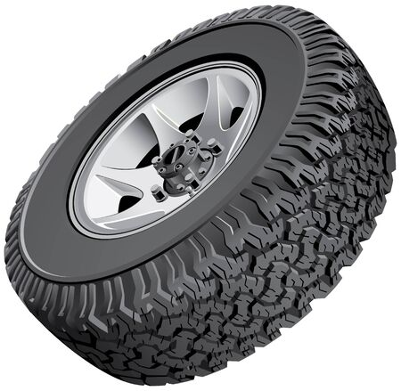 no image: High quality vector image of offroad vehicles wheel, isolated on white background. File contains gradients. No blends, transparency and strokes.
