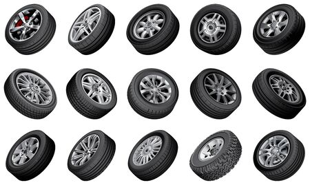 blends: Bundle of high quality illustrations of automobile wheels, isolated on white background. File contains gradients, blends and transparency. No strokes. Easily edit: file is divided into logical layers and groups.