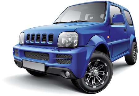 subcompact: High quality image of Japanese off-road SUV, isolated on white background.