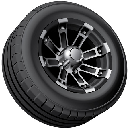 no image: High quality image of offload vehicles wheel, isolated on white background. File contains gradients, blends and transparency. No strokes.