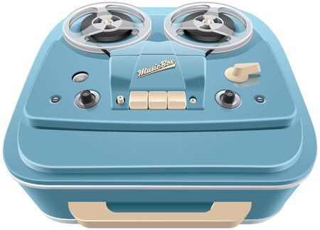 audiophile: High quality vector image of vintage reel-to-reel audio tape recorder, isolated on white background. File contains gradients, blends and transparency. No strokes.