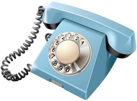 antiques: High quality vector image of vintage rotary dial telephone, isolated on white background. File contains gradients, blends and transparency. No strokes.