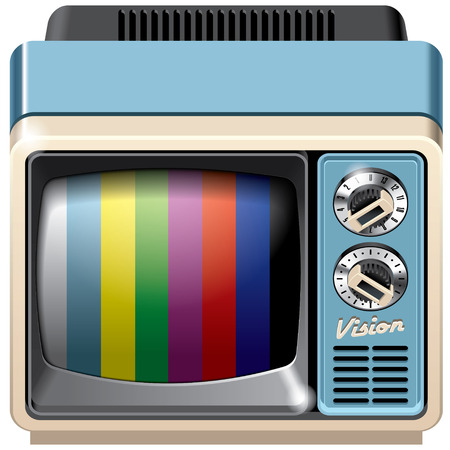 cathode ray tube: Vector icon of vintage television receiver, isolated on white background. File contains gradients, blends and transparency. No strokes.
