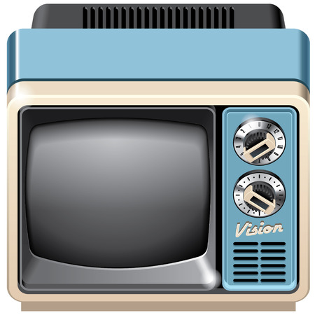 crt: Vector icon of vintage television set, isolated on white background. File contains gradients, blends and transparency. No strokes.