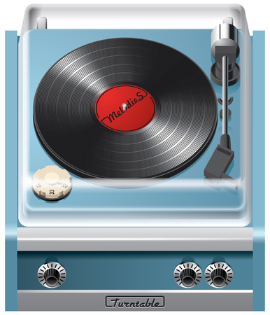 music machine: Vector icon of vintage turntable, isolated on white background. File contains gradients, blends and transparency. No strokes. Illustration