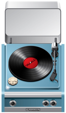 blends: Vector icon of vintage turntable with open lid, isolated on white background. File contains gradients, blends and transparency. No strokes.