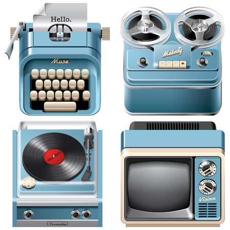 turntables: Vector icons of vintage devices: reel-to-reel audio tape recorder, mechanical desktop typewriter, television receiver and turntable, isolated on white background. File contains gradients, blends and transparency. No strokes.
