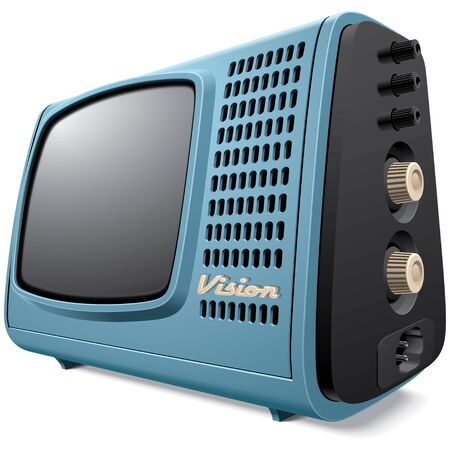 crt: High quality vector image of vintage compact television receiver, isolated on white background. File contains gradients, blends and transparency. No strokes.