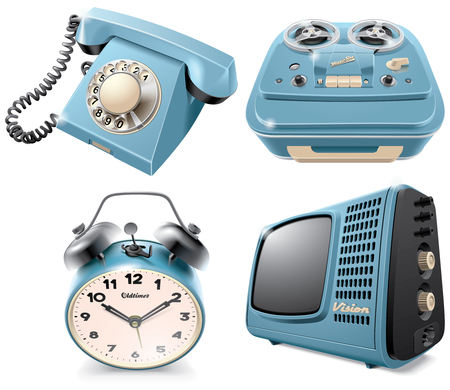 blends: High quality vector icons of vintage objects: rotary dial telephone, reel-to-reel audio tape recorder, alarm clock and television receiver, isolated on white background. File contains gradients, blends and transparency. No strokes.