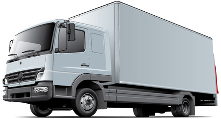 High quality vector image of European light commercial truck, isolated on white background. File contains gradients, blends and transparency. No strokes. Easily edit: file is divided into logical layers and groups. Ilustração