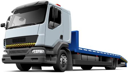 高品質ベクトル軽型トラック、白い背景で隔離の典型的なフラット ベッド回収車のイラストです。ファイルには、グラデーション、ブレンド、透明