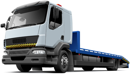Vecteur de haute qualité illustration du véhicule de récupération plat typique à base de camion léger, isolé sur fond blanc. Fichier contient des dégradés, des mélanges et de la transparence. Pas de coups. Facilement modifier: fichier est divisé en couches et groupes logiques. Banque d'images - 65327659
