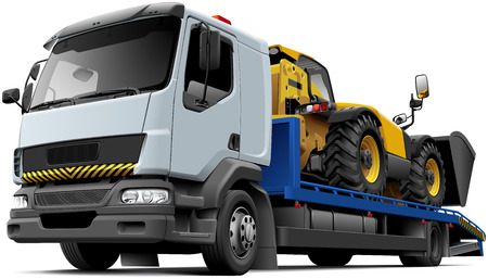 flatbed truck: High quality vector illustration of typical flatbed recovery vehicle based on light truck with telescopic handler isolated on white background. File contains gradients, blends and transparency. No strokes. Easily edit: file is divided into logical layers