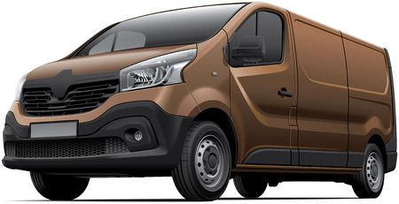 commercials: High quality vector image of European light commercial vehicle, isolated on white background. File contains gradients, blends and transparency. No strokes. Easily edit: file is divided into logical layers and groups. Illustration