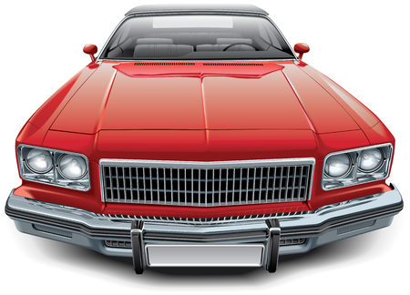 no image: High quality vector image of vintage American coupe convertible, isolated on white background. File contains gradients, blends and transparency. No strokes. Easily edit: file is divided into logical layers and groups.