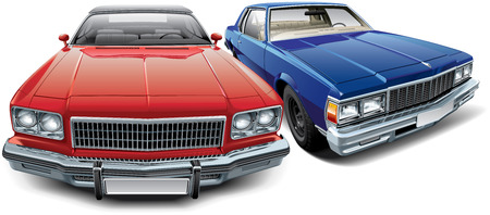 collectors: High quality vector image of two vintage American automobile