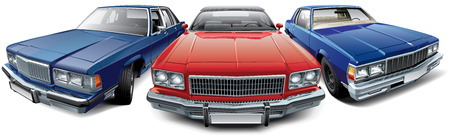sedan: High quality vector image of vintage American automobiles - red coupe convertible, blue hardtop coupe and dark blue full-size luxury sedan, isolated on white background. File contains gradients, blends and transparency. No strokes. Easily edit: file is di