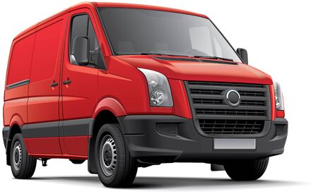 no image: High quality vector image of red European panel van, isolated on white background. File contains gradients, blends and transparency. No strokes. Easily edit: file is divided into logical layers and groups. Illustration