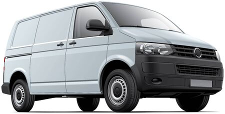 no image: High quality vector image of white European cargo van, isolated on white background. File contains gradients, blends and transparency. No strokes. Easily edit: file is divided into logical layers and groups.