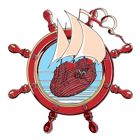 corvette: Vector badge with sail ship and steering wheel, executed in retro print style with colors misregistration effect.