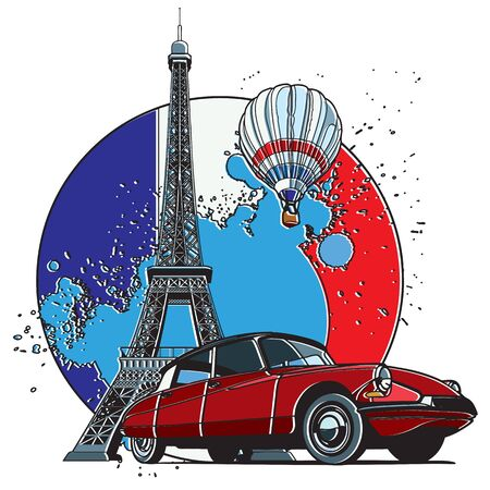 Vector badge on theme of Paris, executed in retro print style with colors misregistration effect on the background in National color of French.