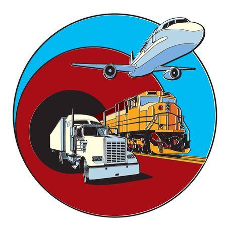 treno espresso: Distintivo di vettore sul tema dei trasporti, eseguito in stile di stampa retrò con effetto di errata registrazione dei colori.