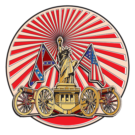 Vector badge on theme of American history with two guns and Statue of Liberty, executed in retro print style with colors misregistration effect. Illustration