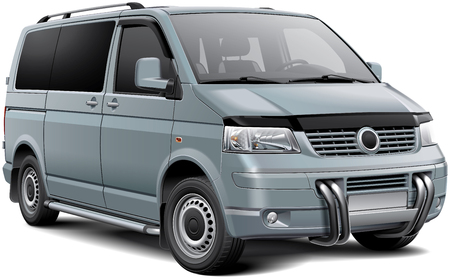panel van: High quality vector illustration of silver European passenger van with roo bar, isolated on white background. File contains gradients, blends and transparency. No strokes. Easily edit: file is divided into logical layers and groups.