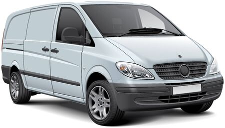 High quality vector illustration of white cargo panel van, isolated on white background. File contains gradients, blends and transparency. No strokes. Easily edit: file is divided into logical layers and groups.