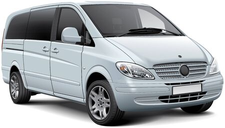 High quality vector illustration of white light passenger van, isolated on white background. File contains gradients, blends and transparency. No strokes. Easily edit: file is divided into logical layers and groups. 向量圖像