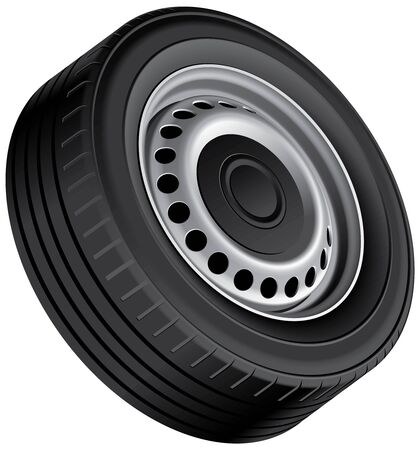 alloy: High quality vector illustration of typical vans wheel with pressed disc, isolated on white background. File contains gradients, blends and transparency. No strokes. Illustration