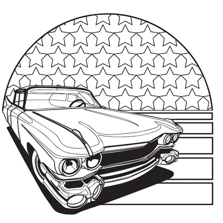 rarity: Simple black and white vector badge executed in retro print style on the background of American symbolism. File doesnt contains gradients, blends, transparency and strokes or other special visual effects. You can open this file with any vector graphics e