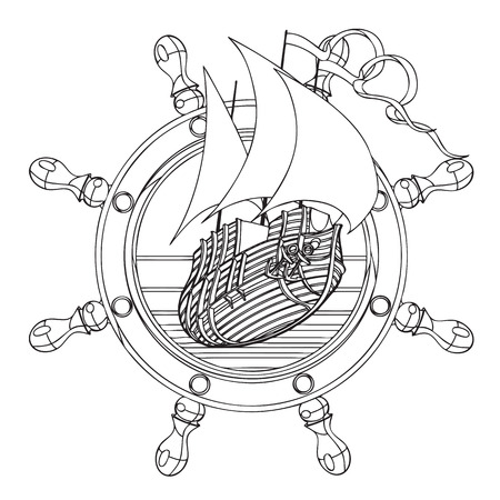 corvette: Simple black and white vector badge with sail ship and steering wheel, executed in retro print style. File doesnt contains gradients, blends, transparency and strokes or other special visual effects. You can open this file with any vector graphics editor