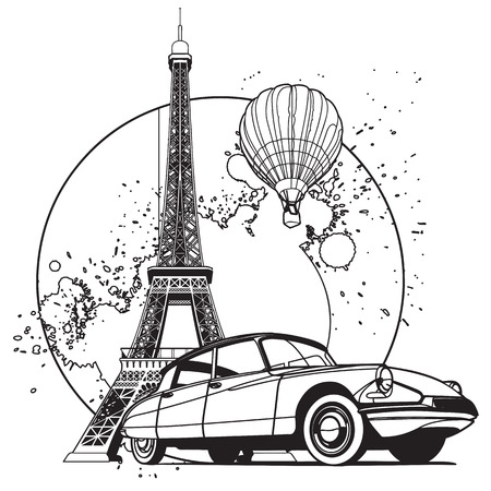 blends: Simple black and white vector badge on theme of Paris, executed in retro print style. File doesnt contains gradients, blends, transparency and strokes or other special visual effects. You can open this file with any vector graphics editors.