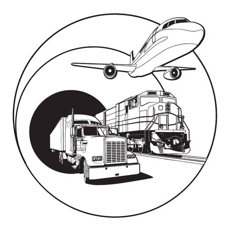 Simple black and white vector badge on transportations theme, executed in retro print style. File doesnt contains gradients, blends, transparency and strokes or other special visual effects. You can open this file with any vector graphics editors. Illustration
