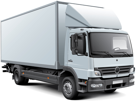 High quality vector image of white European box truck, isolated on white background. File contains gradients, blends and transparency. No strokes. Easily edit: file is divided into logical layers and groups.
