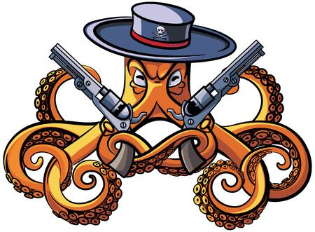 彼の触手は、白い背景で隔離の 2 つの拳銃と広いつばのタコのベクトル カラフルなイラスト。ファイルは、グラデーション、ブレンド、透明度、脳