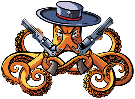 Vector colourful illustration of octopus in the broad-brim with two handguns in his tentacles, isolated on white background. File doesnt contains gradients, blends, transparency and strokes or other special visual effects. You can open this file with any