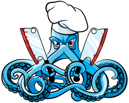 mad: Vector colourful illustration of octopus in the chefs hat with two cleavers in his tentacles, isolated on white background. File doesnt contains gradients, blends, transparency and strokes or other special visual effects. You can open this file with any Illustration