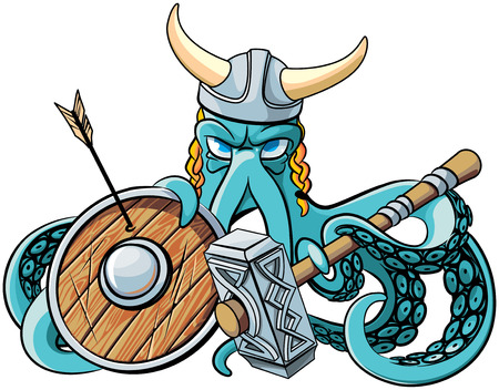 Vector colourful illustration of octopus in the horned viking helmet with battle hammer and wooden shield in his tentacles, isolated on white background. File doesnt contains gradients, blends, transparency and strokes or other special visual effects. Yo
