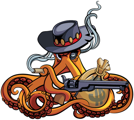 Brown illustration of octopus in the broad-brim with handgun and bag with money in his tentacles Иллюстрация