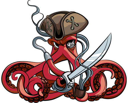 Vector colourful illustration of one-eyed octopus in the tricorn. Иллюстрация