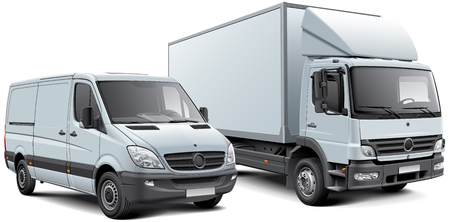 High quality vector illustration of white box truck and light goods vehicle, isolated on white background. File contains gradients, blends and transparency. No strokes. Easily edit: file is divided into logical layers and groups.