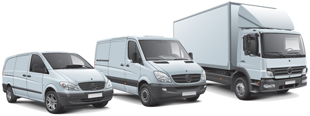 High quality vector illustration of European commercial vehicles lineup, isolated on white background. File contains gradients, blends and transparency. No strokes. Easily edit: file is divided into logical layers and groups.