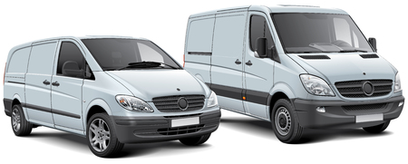 High quality vector illustration of two light commercial vehicles, isolated on white background. File contains gradients, blends and transparency. No strokes. Easily edit: file is divided into logical layers and groups.